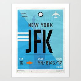 Vintage New York Luggage Tag Poster Art Print