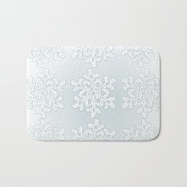 Crocheted Snowflake Ornaments on teal mist Bath Mat