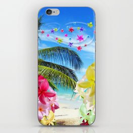 Tropical Beach and Exotic Plumeria Flowers iPhone Skin