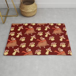 Cute happy llamas with red warm scarves and funny whimsical little mushrooms seamless pattern design Rug