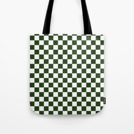 Large Dark Forest Green and White Check Squares Tote Bag