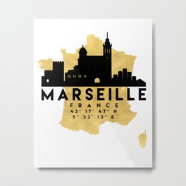 MARSEILLE FRANCE SILHOUETTE SKYLINE MAP ART Metal Print