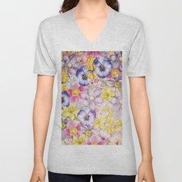 Painterly Vintage Spring Flowers Pattern - Springflower floral Unisex V-Neck