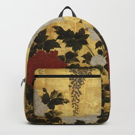 Vintage Japanese Floral Gold Leaf Screen With Wisteria and Peonies Backpack