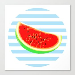 Watermelon, Summer Poster, Summer colors, blue, rounded Canvas Print