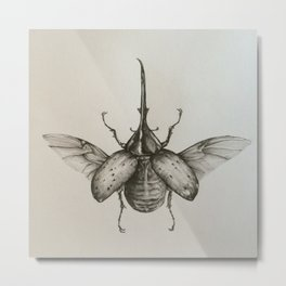 Horned Beetle Metal Print