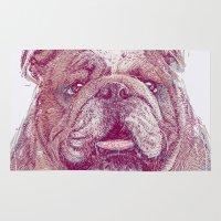 bulldog Area & Throw Rugs featuring Bulldog by Ahmad Mujib
