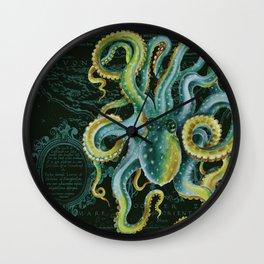 Green Octopus Vintage Map Dark Green Wall Clock