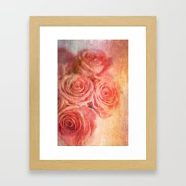 Romantic Roses Textured Photographic  Framed Art Print