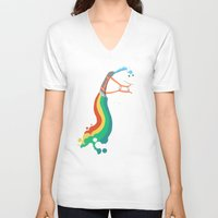 kids V-neck T-shirts featuring Fat Unicorn on Rainbow Jetpack by Picomodi
