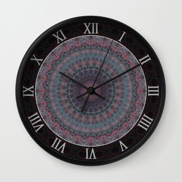 Mandala in blue and red tones Wall Clock