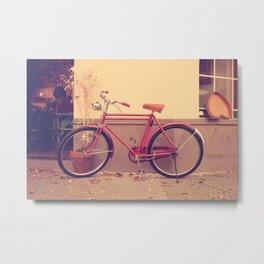 Vintage and Retro Pink Bicycle on the Street Metal Print