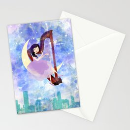 Harp girl 2: Music at night Stationery Cards