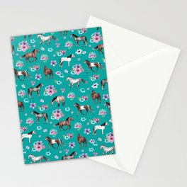 Horse Pattern, Floral Print, Turquoise, Little Girls Room, Horses Stationery Cards