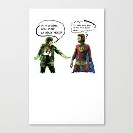 H-MAN MEETS LA MAIN VERTE (Drawing #1 white bubble version) Canvas Print