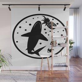 Pineapple Shark Wall Mural