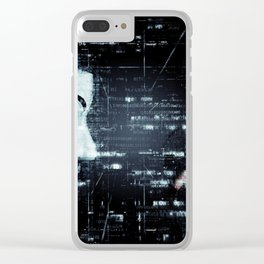 hacker background Clear iPhone Case