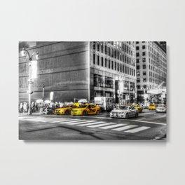 Yellow Taxis Monochrome World Metal Print