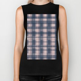 Dusty rose and Blue Modern Tartan Biker Tank