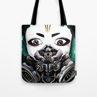 cyberpunk Tote Bags featuring Cyberpunk Kyoshi Warrior by SmidgenSpunks