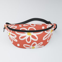 Cute White Floral Flower Pattern on Red Fanny Pack