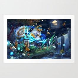 Moonlight in the Misty Peaks Art Print