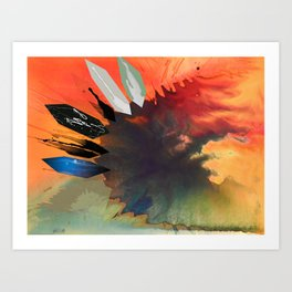 Colour Puddle with Polygon Art Print