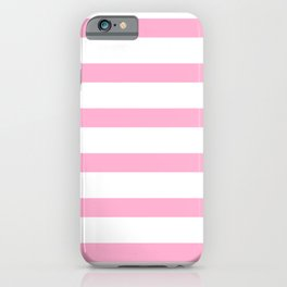 Hot Pink Stripe on white Background iPhone Case