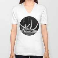 antler V-neck T-shirts featuring Antler by Danielle Fedorshik