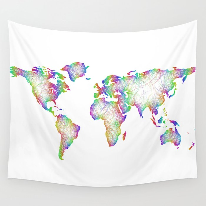Rainbow World Map Wall Tapestry By Davidzydd Society6