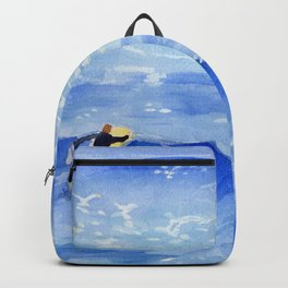 Getting ready to take this wave surf art Backpack