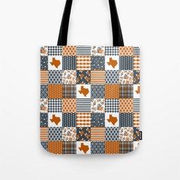 Texas longhorns university quilt pattern gifts sports fan varsity football fan Tote Bag
