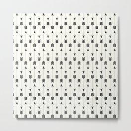 Modern simple black white bohemian arrows Metal Print