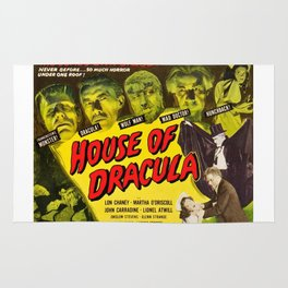 House of Dracula, vintage horror movie poster Rug