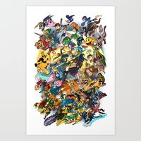 super smash bros Art Prints featuring Super Smash Bros! by I am ARG Comic Prints and more!