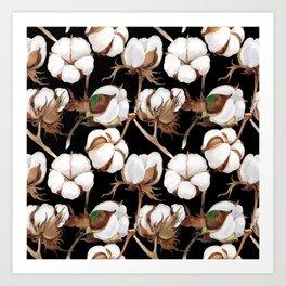 Cotton Flower Pattern 04 Art Print