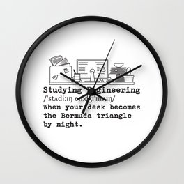 Studying Engineering Messy Desk Gift Wall Clock