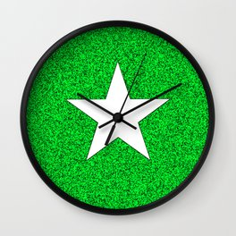 white star on green and black abstract background Wall Clock