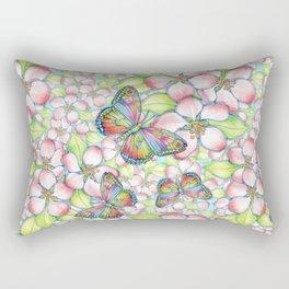 Rainbow Butterfly Blossoms Rectangular Pillow