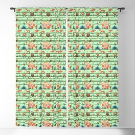 Camper Animals and Objects Seamless Pattern - Illustration Blackout Curtain