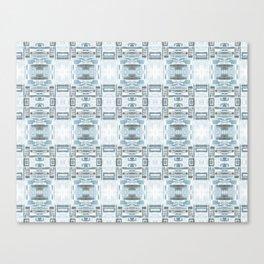 Mirror Pattern Tribal Style 2.0 -  Blue, Gray & White Canvas Print
