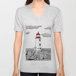 Peggy's Cove Lighthouse Unisex V-Neck