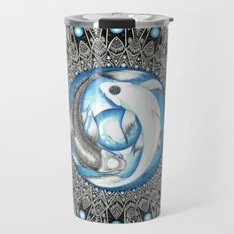 Yin and Yang Butterfly Koi Fish Mandala Travel Mug
