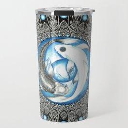 Yin and Yang Butterfly Koi Fish Mandala Travel Mug