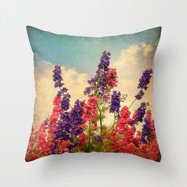 Delphiniums (Textured) Throw Pillow