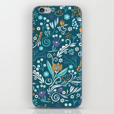 Flower circle pattern, blue iPhone & iPod Skin