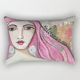 Believe in Your Own Magic Mixed Media Fairy Girl Rectangular Pillow