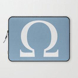 Greek letter Omega sign on placid blue background Laptop Sleeve