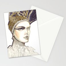 Portrait illustration in golden markers and pencils Stationery Cards