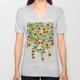 Sunflowers and Eucalyptus Garland  Unisex V-Neck